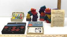 Vintage Blockhead Family Balancing Skill Game+Lexicon Card+Parcheesi+Checkers