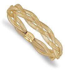"Ladies 14k Yellow Gold 10mm Leslies Fancy Stretch Flexible Bangle Bracelet 7.5"""