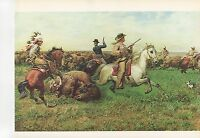 "1972 Vintage HUNTING ""GREAT ROYAL BUFFALO HUNT, 1894"" STAMPEDE Color Lithograph"