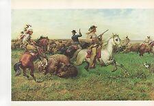 "1972 Vintage HUNTING ""GREAT ROYAL BUFFALO HUNT, 1894"" STAMPEDE Color Lithograph"