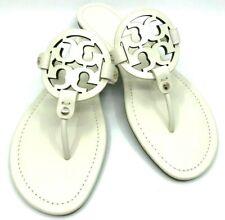 Tory Burch NEW Women Miller Bleach Leather Logo Sandals Brazil $198 Authentic11M
