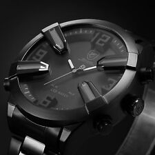 Shark Men's Digital LED Stainless Steel Date&Day Sport Luxury Quartz Wrist Watch