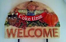 New Coca Cola Snowman & Scarecrow Garden Stakes Welcome Sign Christmas Halloween
