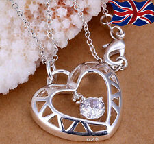 "925 Sterling Silver Heart Necklace Crystal Pendant 18 "" Chain Link Gift Bag UK"