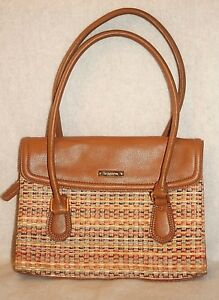 LIZ CLAIBORNE ~ Brown & Colorful Fabric Roomy w/Wallet Shoulder Bag * G.- VERY G