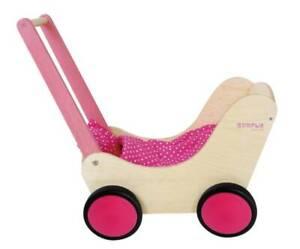 Puppenwagen Lauflernwagen aus Holz, natur / pink mit Garnitur und Gummirädern 01