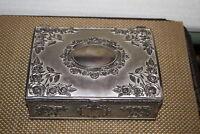 Jewelry Box Rose Flowers Scrolls Silver Metal Lidded Trinket Jewelry Box