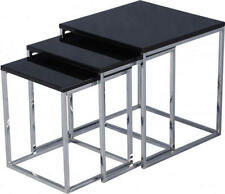 Charisma Nest of Tables in Black Gloss and Chrome