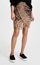 NWT $331 SJYP Skirt Animal Leopard Print Ruched Sides Pleated Size Small