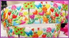 1 metre, LOLLYPOP FLOWERS , 25mm, Grosgrain, Hearts, 1 inch,Ribbon, BUY 5, GET 6