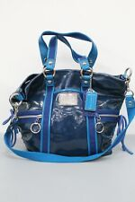 Coach Poppy Glam Convertible Shoulder Tote/Hand Bag Blue Patent Leather 13835