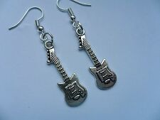 Unusual Pair of Handmade GUITAR Silver Hook Earrings