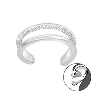 925 Sterling Silver Double Layer Ear Cuff