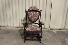 Fabulous Walnut Victorian Hunzinger Signed Original Finish Rocking Chair Ca1885