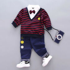 2 Piezas Niños Bebé Niño Lazo Suéter Camiseta + Pantalones largos daliy Fiesta
