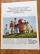 1972 American Gas Ad Children St. Saint Bernard Dog