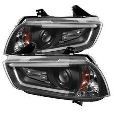 Spyder Dodge Charger 11-14 Projector Headlights Halogen - Light Tube DRL Blk