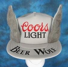 20c2a0097ed NOS vintage 80s COORS LIGHT BEER WOLF MESH TRUCKER HAT snapback cap costume  rock
