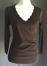 Fab PORTMANS Brown Sheer Mesh Cross Over Top Size M 10-12
