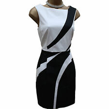 Karen Millen Black White Cotton Stripe Cocktail Office Graphic Wiggle Dress 12UK