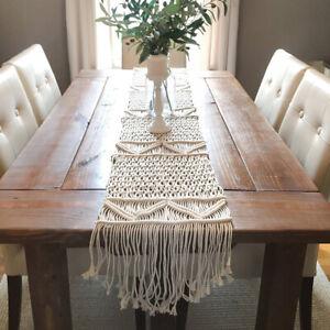 Bohemian Fennco Styles Handmade Lace Table Runner Macrame Cotton, Cream Color