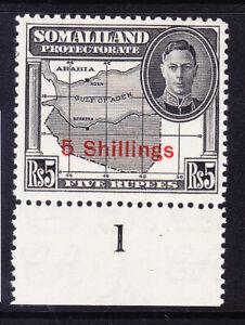 SOMALILAND GVI 1951 SG135 5/- on 5r black superb unmounted mint control 1 cat£27