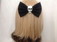 Large black skull hair bow clip rockabilly pin up girl gothic punk Halloween