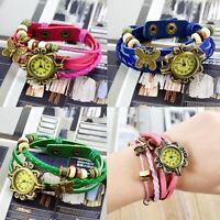 Women Trendy Quartz Vintage Butterfly Bracelet Faux Leather Weave Wrist Watch