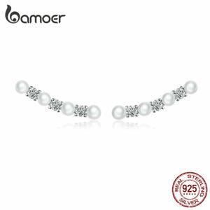 BAMOER Women Stud Earrings S925 Sterling Silver AAA Zircon The pearl Jewelry