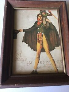 Norman Rockwell Tiny Tim Print GOD BLESS US EVERYONE-FRAMED WOOD-WIRE-8.5 X 6.5""