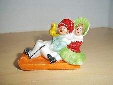 Antique Vintage Germany Bisque Christmas Children on Sled Snow Baby