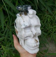 3080g Natural CRYSTAL CARVED SKULLHEALING +snake