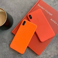 Simple Candy TPU Orange Rubber Phone Case Cover For iPhone 6s 7 8 plus XS Max XR