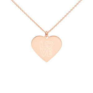 Best Engraved Silver Heart Necklace New jewelry Valentine's day