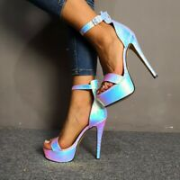 Fashion Women Stiletto Party Club Sexy Shiny High Heels Plus Size Buckle Sandals