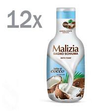 Malizia Cocco /Noix de Coco Lait Noix Gel Douche Bain Moussant 12x 1000ml Mousse