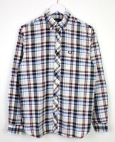 Fred Perry Mens Long Sleeve Button Down Checkered 100% Cotton Shirt VGC - S