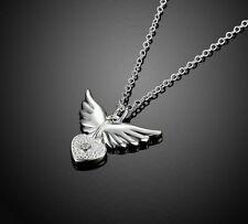 925 Silber Kette Herz Engelsflügel Engel Talisman Anhänger Schmuck Kinder Damen