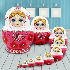 10Pcs Russian Matryoshka Wood Nesting Dolls Pink Hand Paint Decor Cute Gifts US