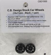 CB DESIGN 1500 NASCAR STOCK CAR BLACK ALUMINUM WHEELS 15x11 1/32 SLOT CAR PART