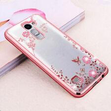 For LG G3 G4 G5 G6 Bling Glitter Diamond Flower Clear Soft Rubber TPU Case Cover