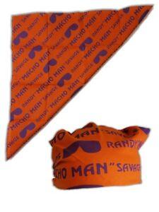 Macho Man Randy Savage Orange Print Bandana New