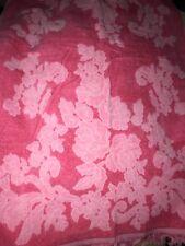 Vintage MCM Pink Plush Floral Bath Towel Fringe Sculpted Mic Century Cannon