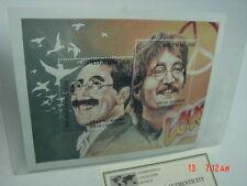 2 Mint Stamps Beatles John Lennon Groucho Marx Sheetlet w/ COA Abkhazia Pamphlet