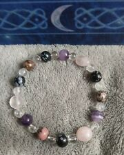 Twin flame healing Crystal bracelet, obsidian, quartz,  amethyst,rhodonite