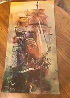 Vintage Lithograph Sailing Ship Ocean Art Print 12 X 24