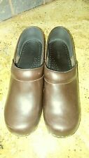 LL BEAN Brown Leather Stapled Professional Slip-On Mule Clogs Shoes Womens 8.5M