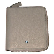 New Montblanc Meisterstuck Beige 4CC Zippered Coin Case Leather Wallet Italy