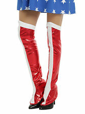 Wonder Woman Boot Covers Red & White Shiny ONE SIZE Cosplay Costume DC Comics