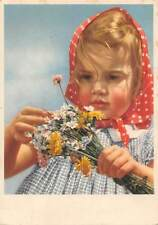 Girl Kerchief Flowers Bouquet, Verlag Carl Werner Reichenbach i. Vogtl.